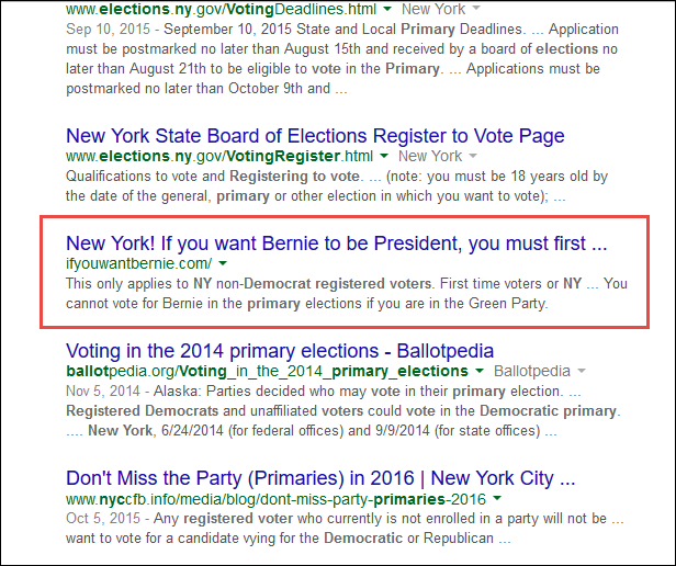 Screenshot of the search result for register to vote democratic primary New York
