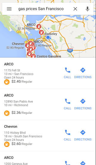 Google Gas Prices on Maps