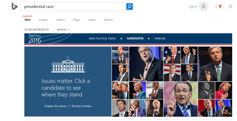 bing presidential race search