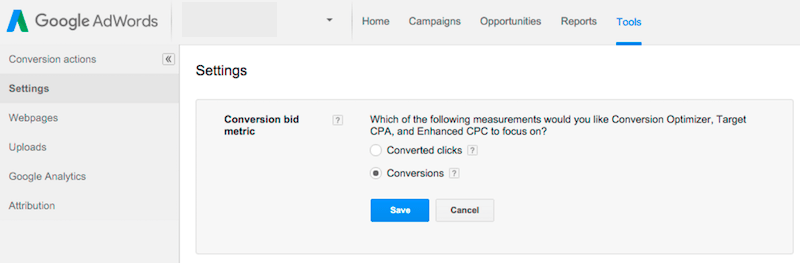updating the conversion bid metric in adwords