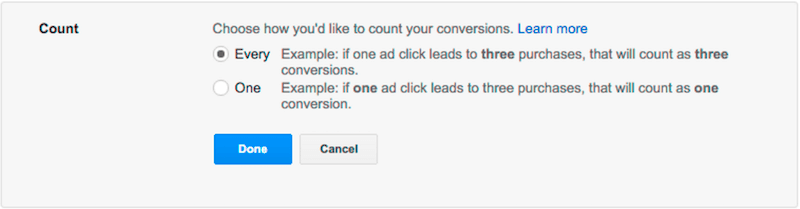 counting every vs. one conversion