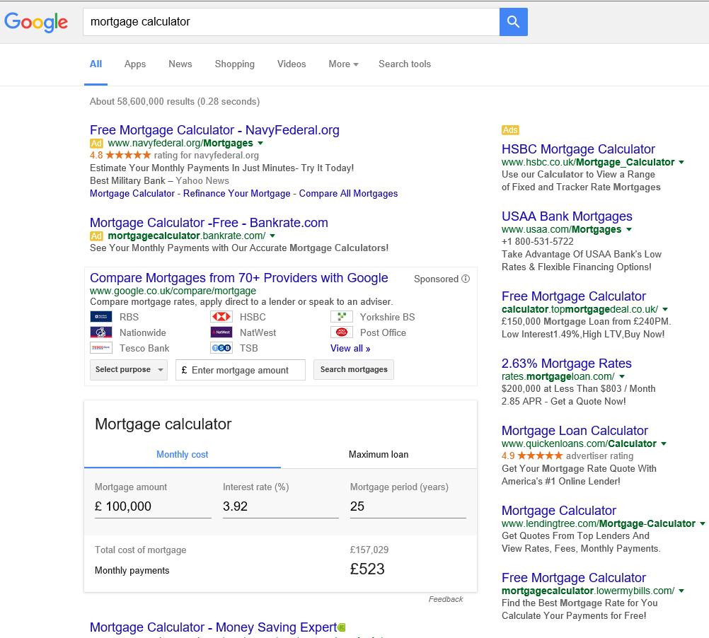 google-serp-mortgage-calculator-uk-compare