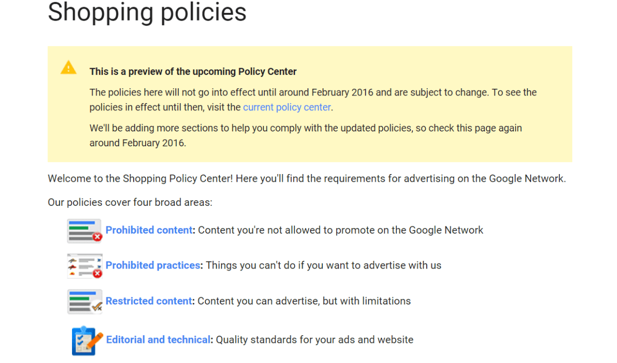 google shopping policy center update