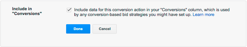 including conversions in the conversions column