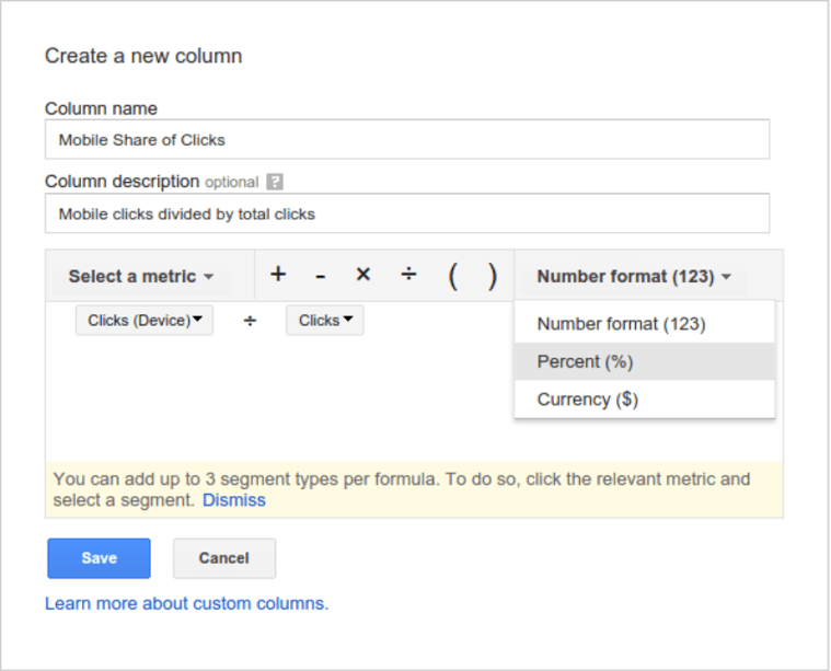 formulas in adwords custom columns