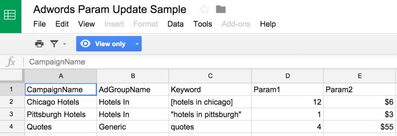 Sample spreadsheet to update ad param data using a script from FreeAdWordsScripts.com