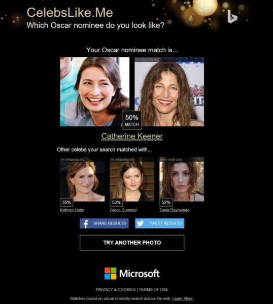 Bing oscar look alike tool