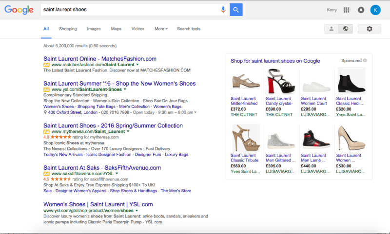 Google four ads results