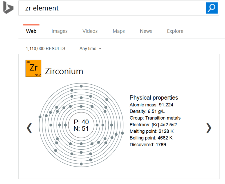 Bing periodic table element result