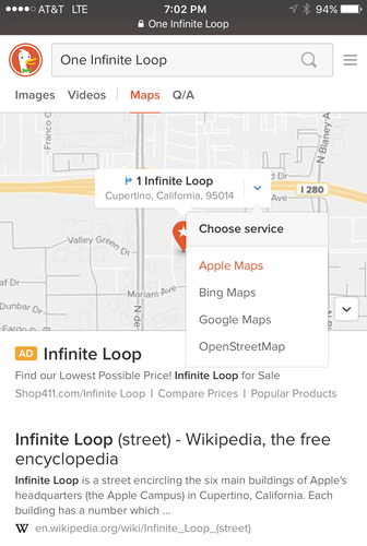 DuckDuckGo mobile directions
