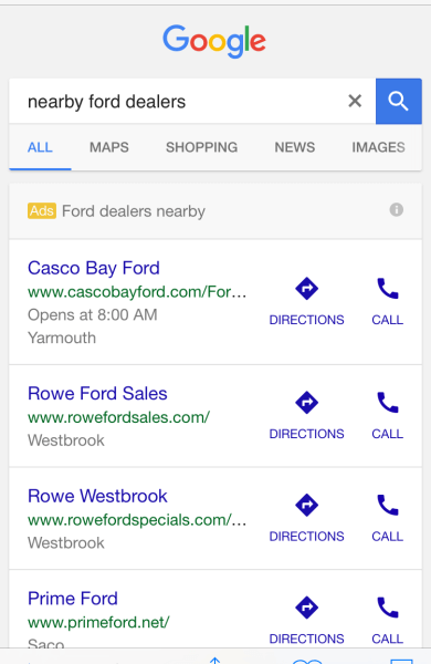 google mobile dealer ads