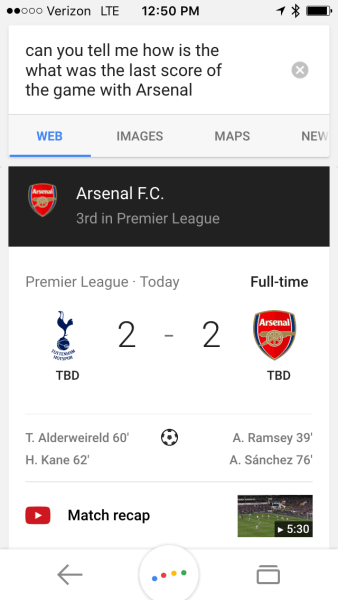 Last Game With Arsenal Query Response