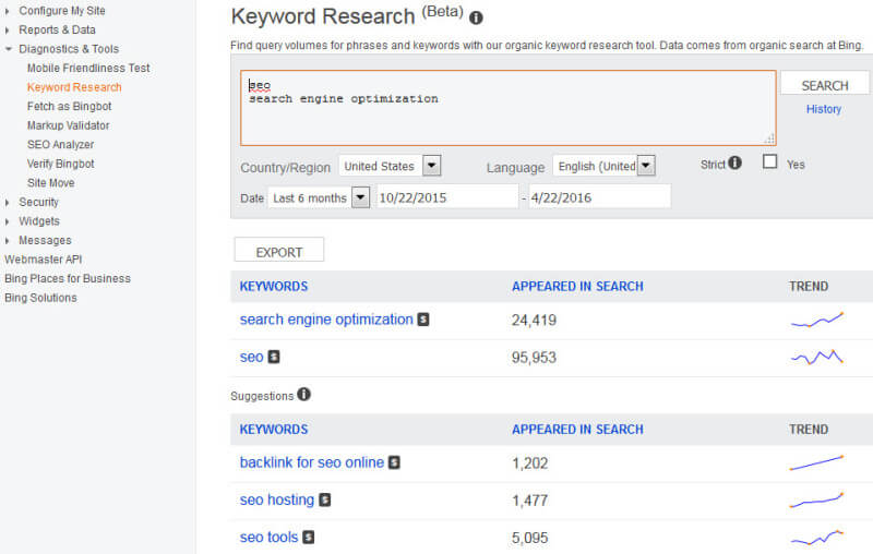 Bing Webmaster Tools Keyword Research