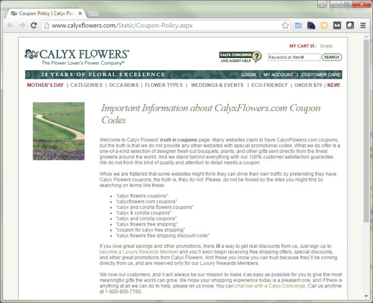 Calyx Flowers coupon page