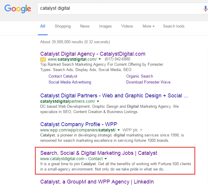 catalyst contact page ranking in serp