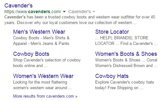 Cavenders sitelinks