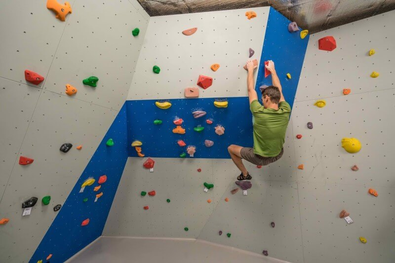 Google Zurich rock climbing wall with Android climbing holds