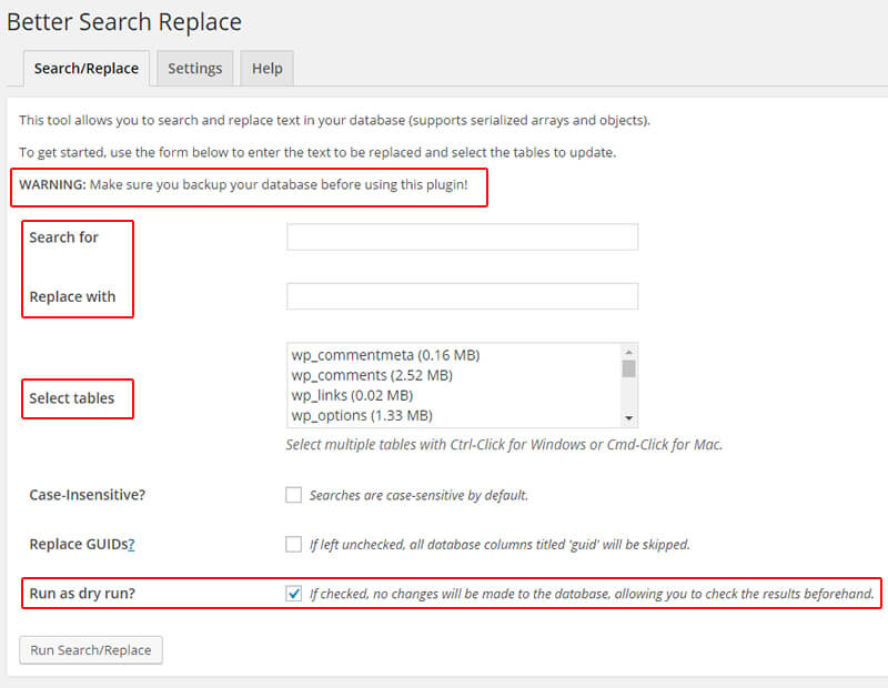 Changing all links in WordPress Using Better Search Replace