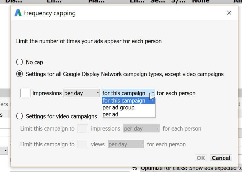 frequency caps in adwords editor