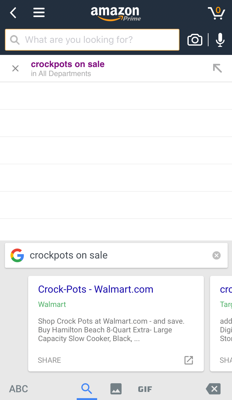 gboard search results amazon