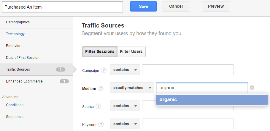 Custom Segment in Google Analytics - Traffic Source