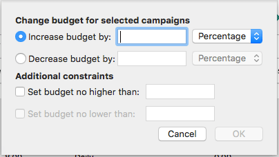 bulk budget adjustments bing ads editor for mac