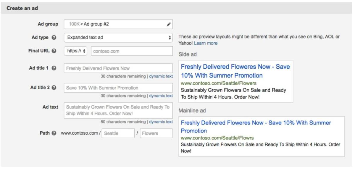 bing ads expanded text ads interface