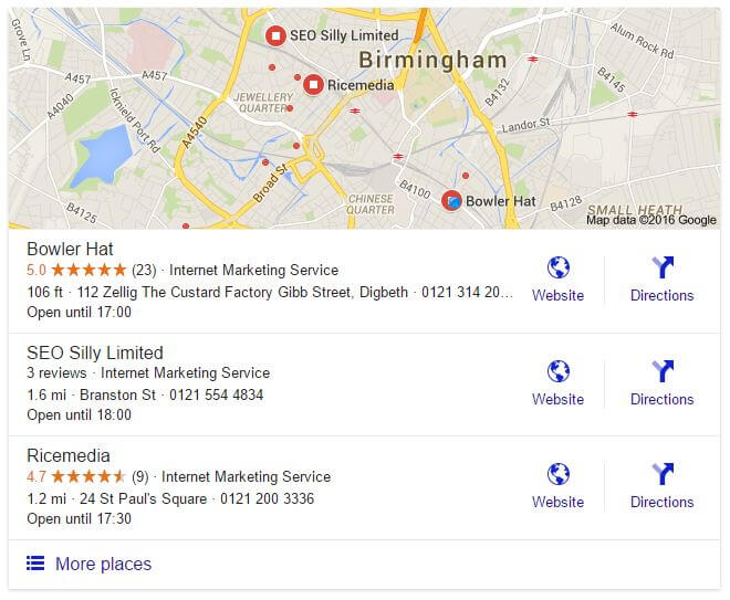 Local Search results for SEO Birmingham