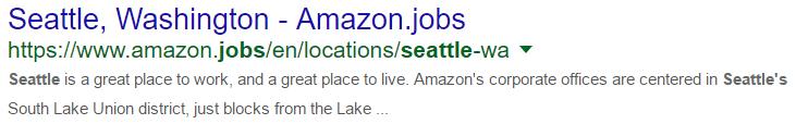 Amazon - Seattle - SERP Result