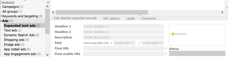 expanded text ads setup adwords editor