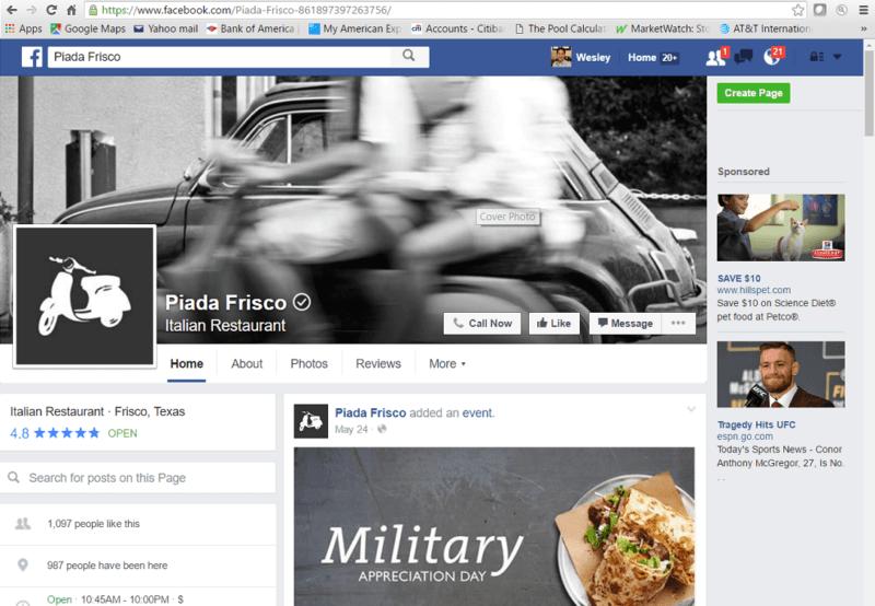 Piada Frisco Facebook page