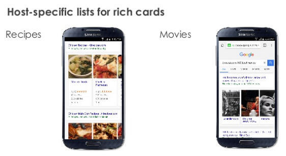 Rich Cards for Recipes and Movies