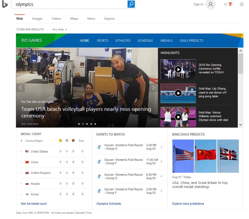 Bing Olympics search