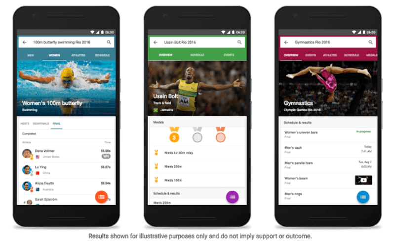 Google Olympic mobile updates