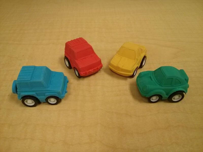 Google toy car erasers