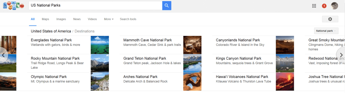 US national parks search