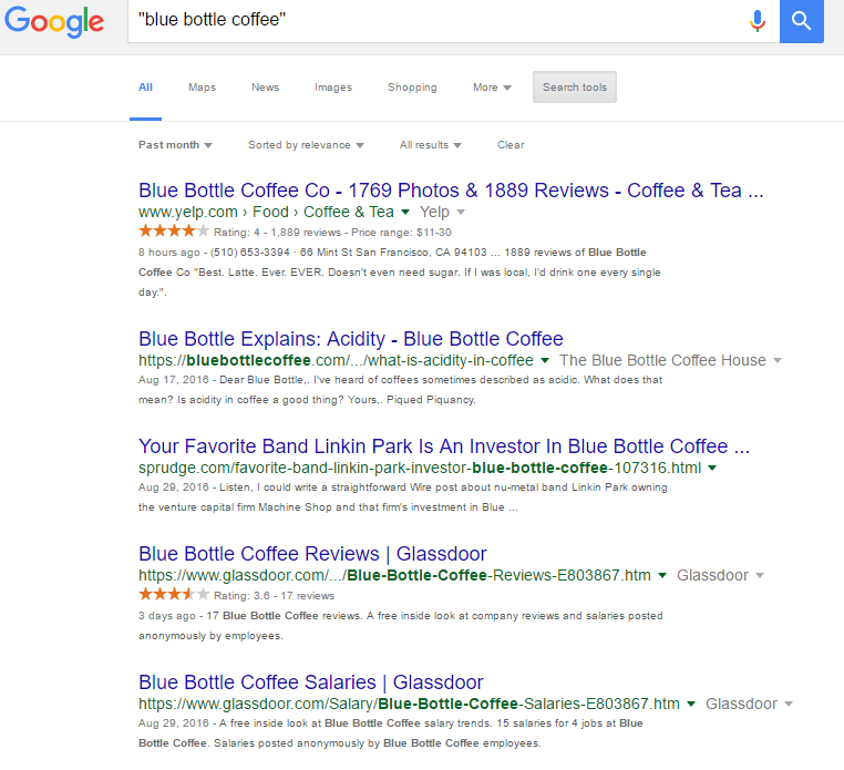 blue bottle coffee inbound search