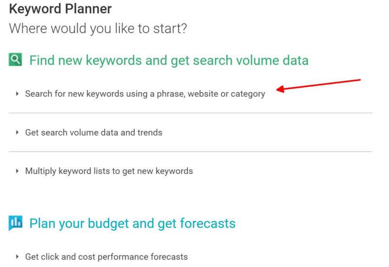keyword planner start
