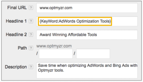 Dynamic Keyword Insertion in Ad Text