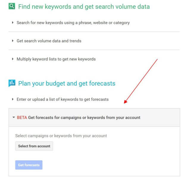 import keywords from adwords into keyword tool for forecasting