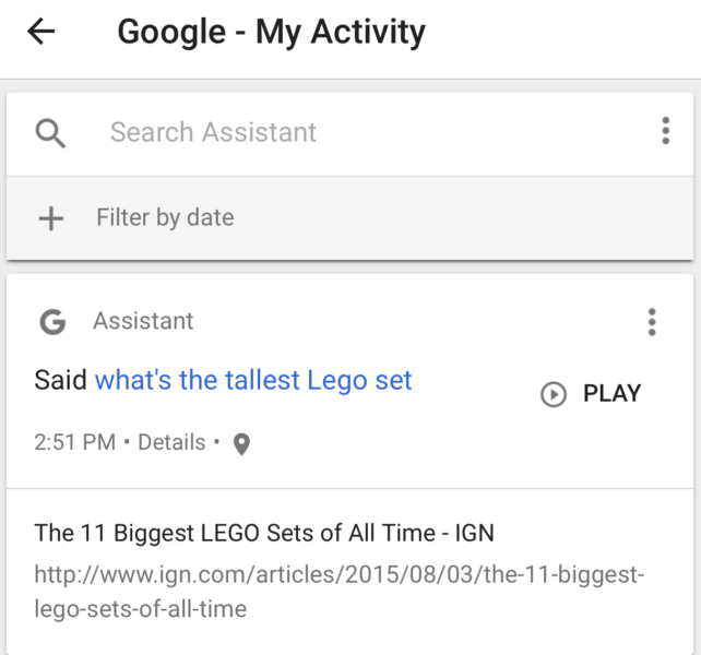 Google Home search history