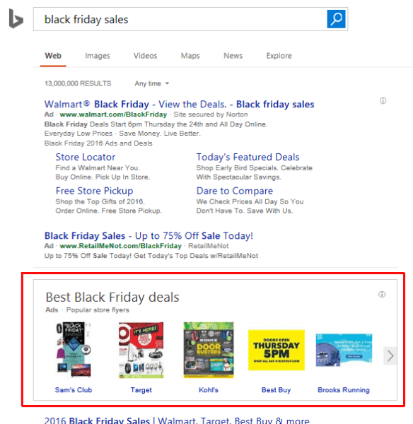 Black Friday flyer ad carousel on Bing.