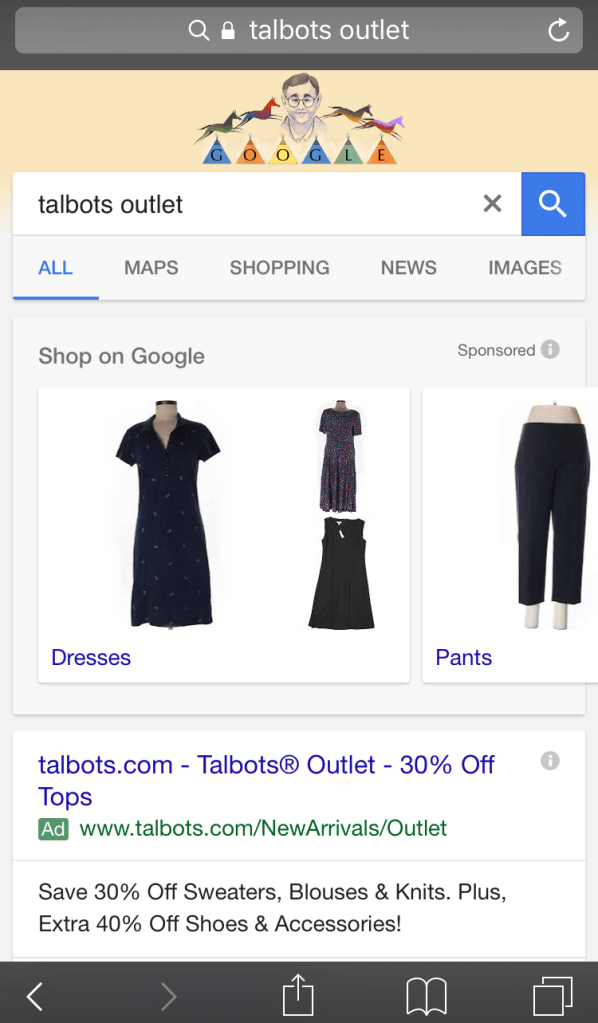 google-adwords-showcase-ads-shopping-talbots-outlet