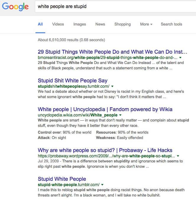 google white people are stupid