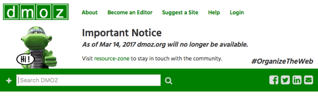 DMOZ-Open Directory Project Has Officially Closed After 19 Years Of Efforts To Organize The Web