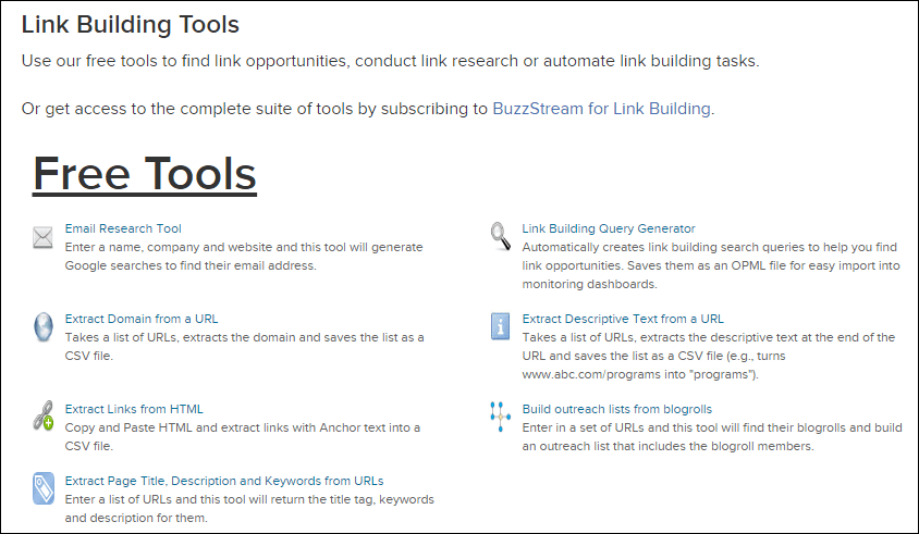 Buzzstream link building tools screenshot
