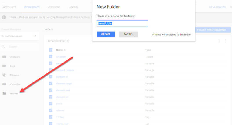 Create Folders In Google Tag Manager
