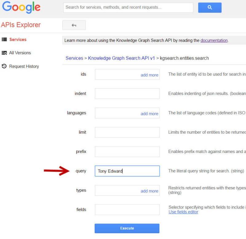 Tony Edward Google Knowledge Graph API Search