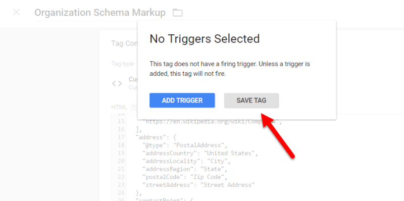 No Triggers Selected Pop Up Message Google Tag Manager