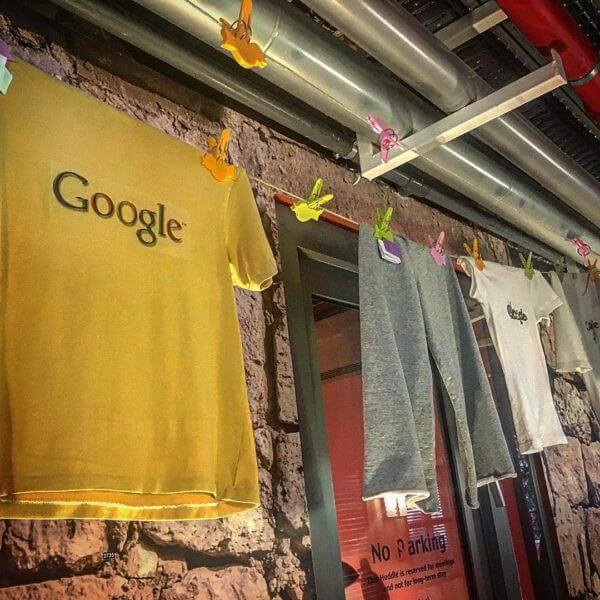 Search in Pics: Google net, indoor clothesline & light fixture